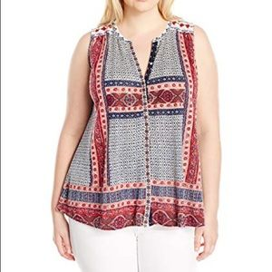 Lucky Brand Patterned Tank Top 2X